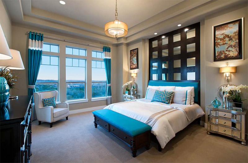 bright aquatic blue bedroom interior design