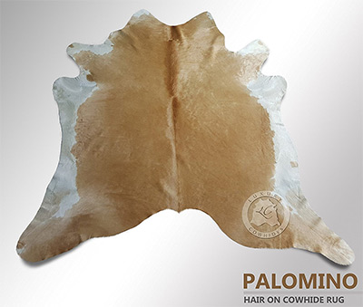 palomino white and beige cowhide rug