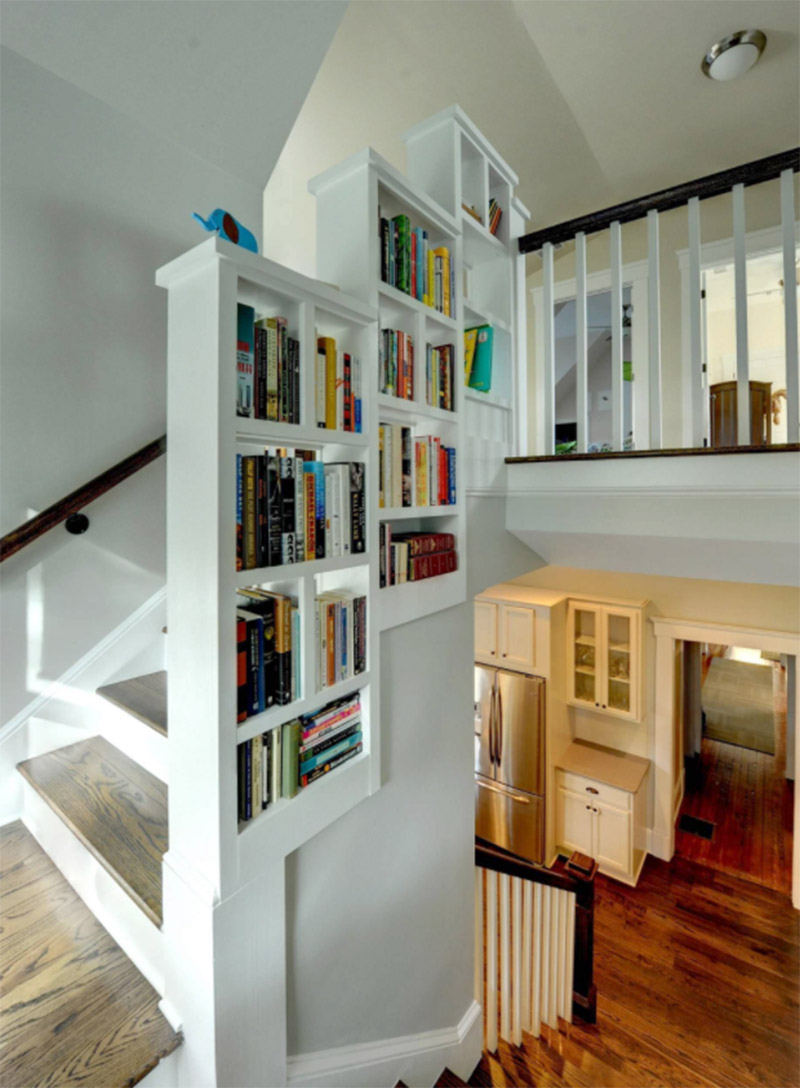 built in shelves staircase unit
