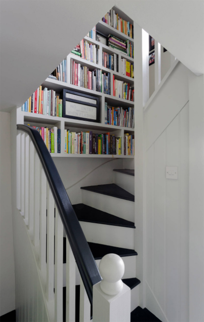 small shelving units along stairs