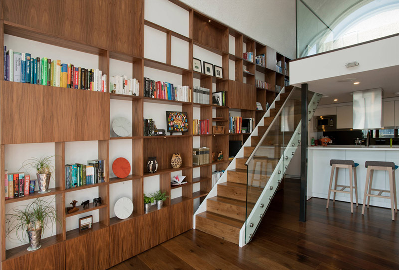 detailed wooden shelves staircase