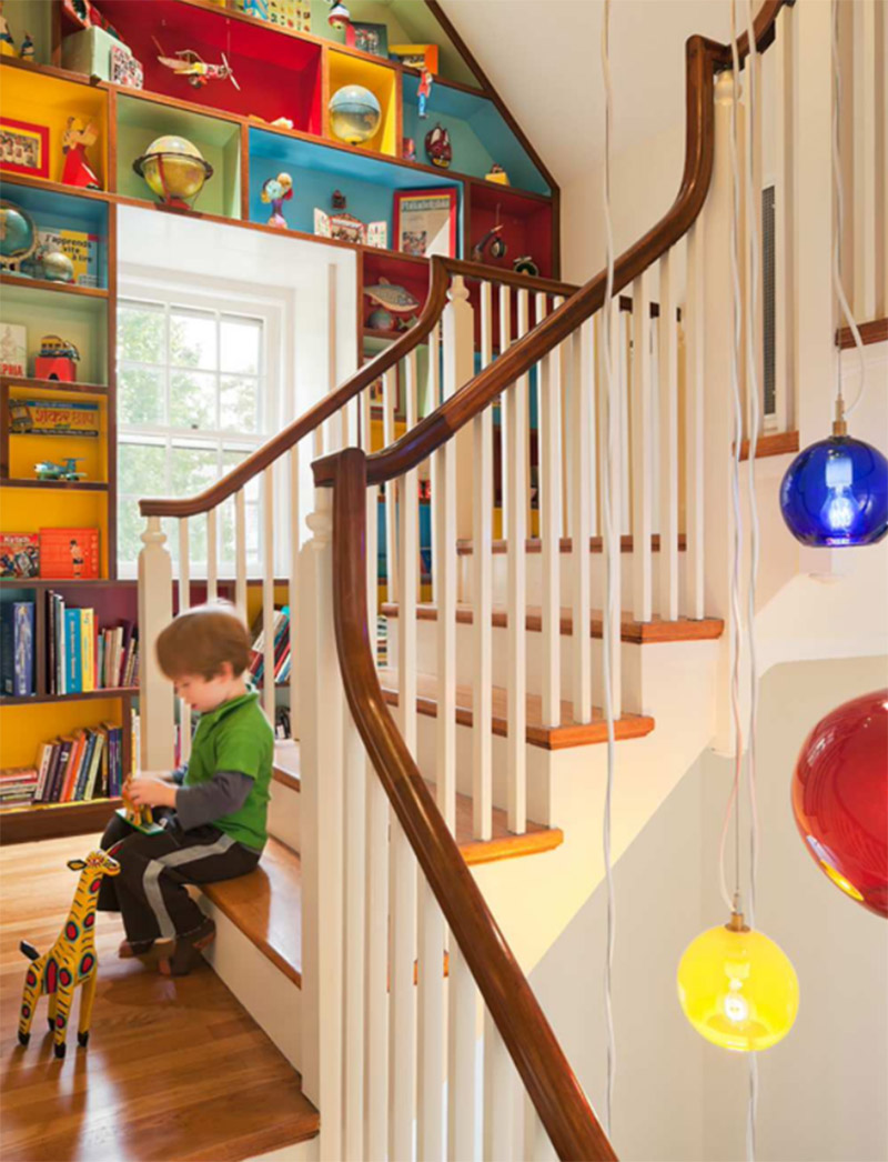 colorful kids staircase shelving