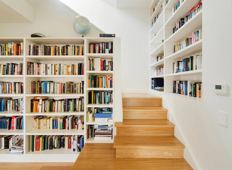 bright shelving staircase combo
