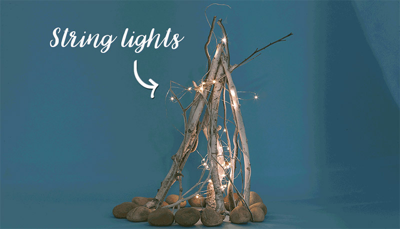 flameless string light fireplace