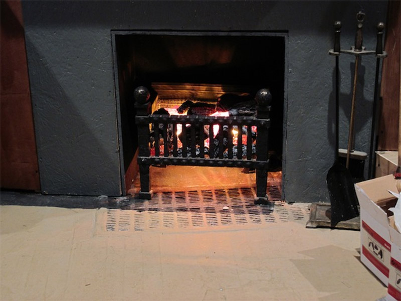 fake fireplace effect indoors