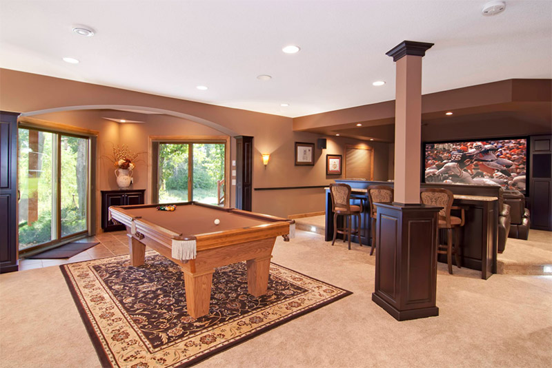 traditional furnished basement