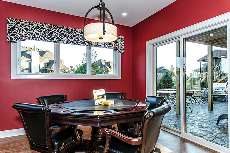 red basement area walkout room