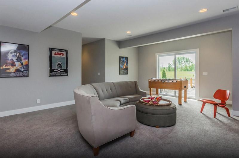 mid century modern revamped basement