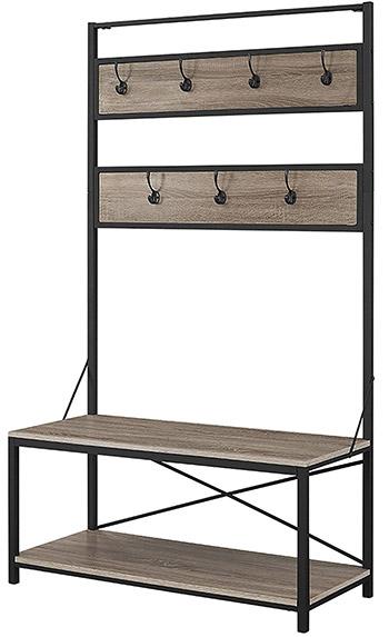 we furniture hall tree metal+wood