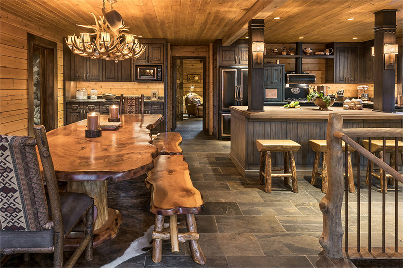 Beautiful Paradise Rustic Dining Room Kitchen Area