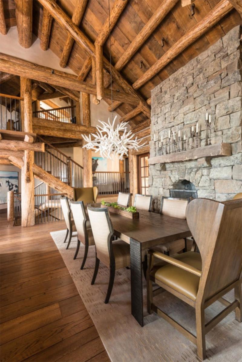 dark interior cedar dining room