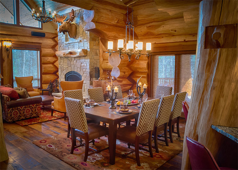 Amazing Moose Ridge Cabin Log Home. Moose Ridge Dining Room Interior