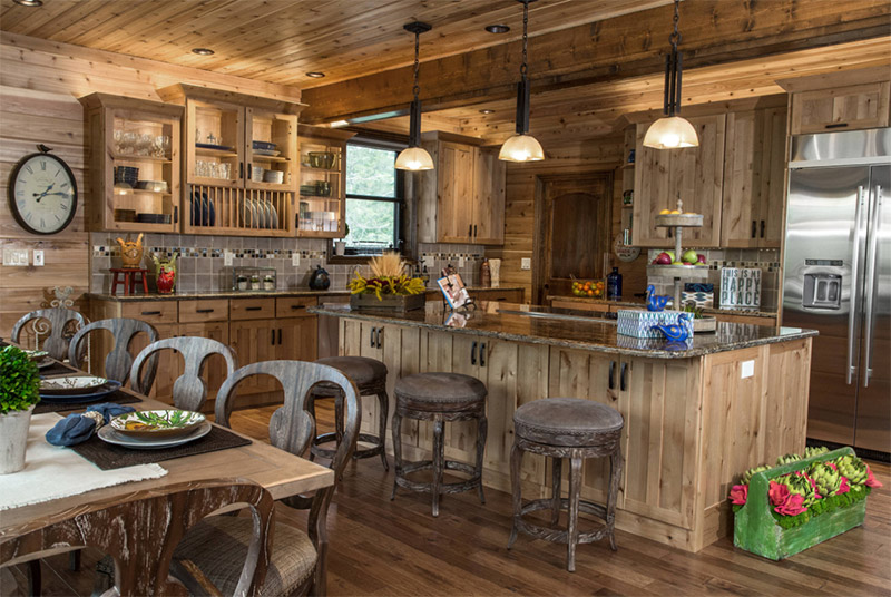 lake home dining room cabin interior