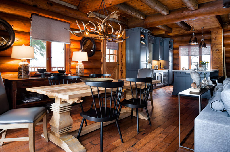 Beautiful Log Cabin Dining Room Ideas - Full Home Living