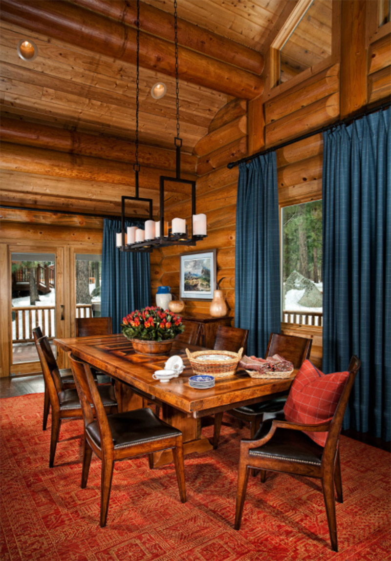 Awesome Traditional Interior Log Cabin Dining Room