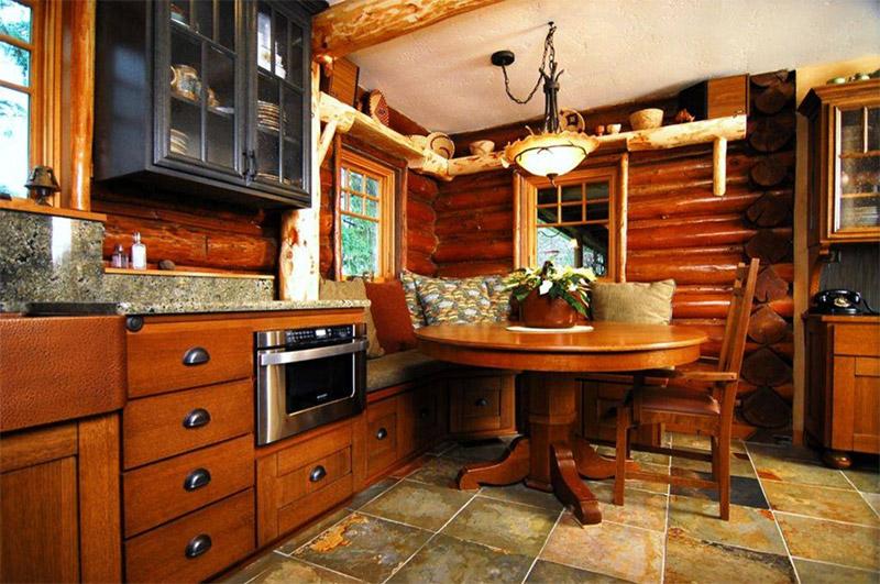 kitchen corner dining area cabin