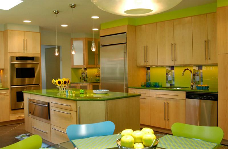 Exceptionnel Green Kitchen Inteiror Kitchen Island