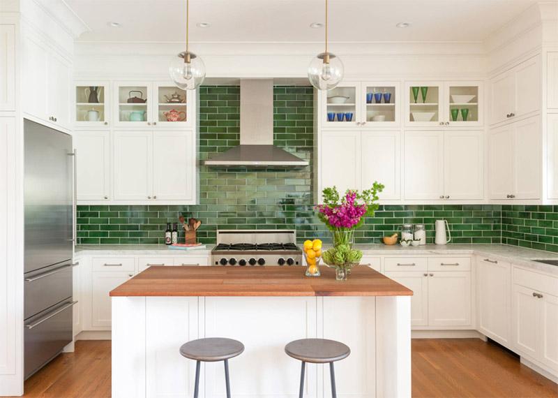 nystrom design interior green kitchen