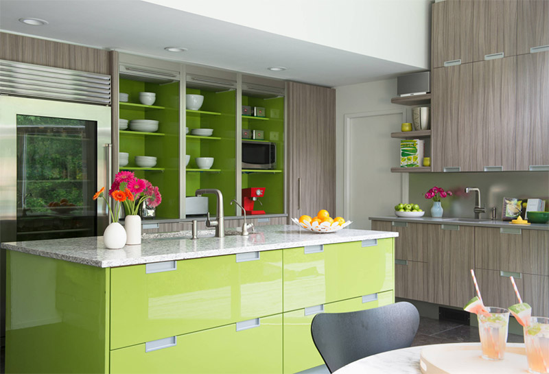 bright lime colored modern kitchen