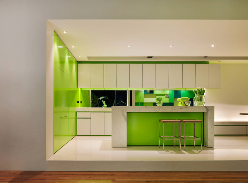 Lovely Green Contemporary Kitchen Interior Design ...
