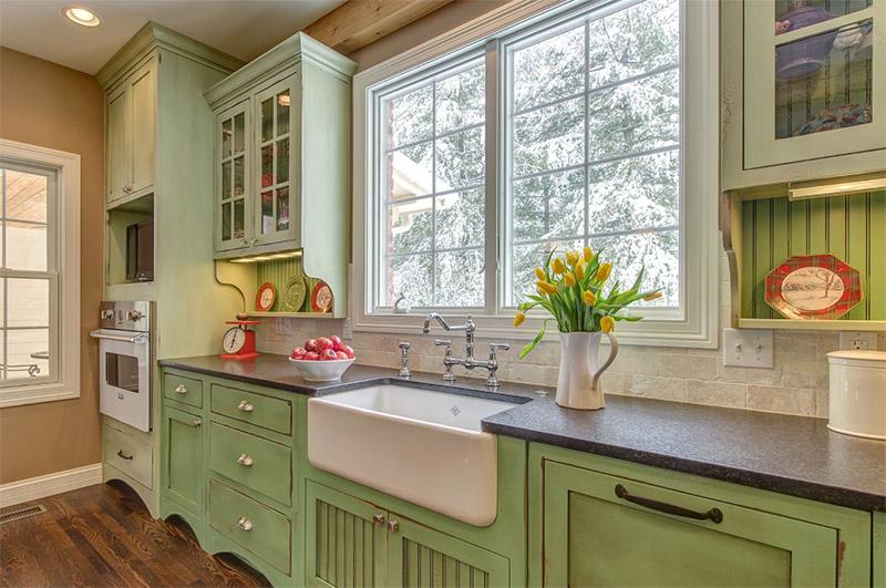green farm kitchen remodel design