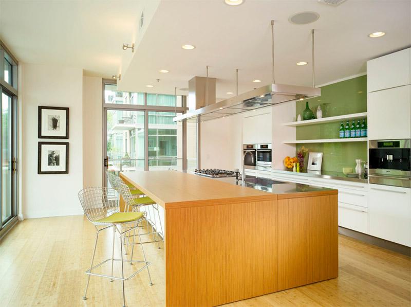 high rise kitchen green design