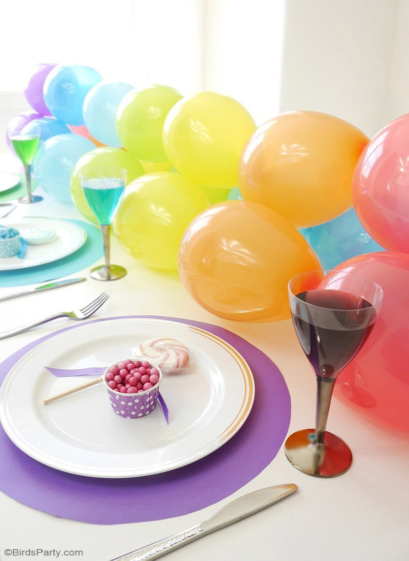 rainbow colored table runner diy