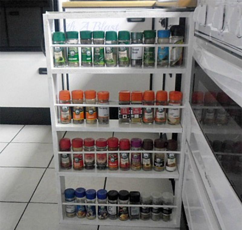 Sliding Spice Rack: 11 DIY Spice Rack Ideas For A Whimiscal Kitchen