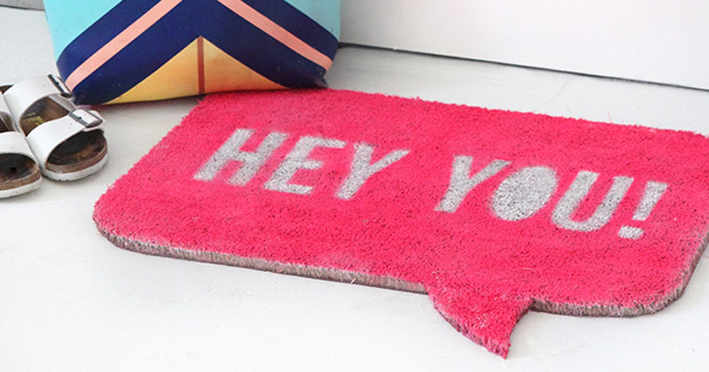 hey you pink welcome mat