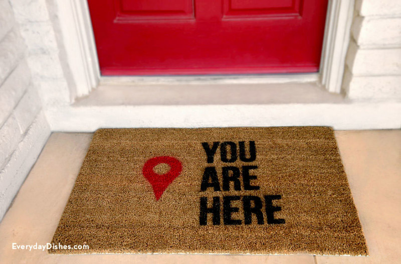 5. Geo Pin Marker & 16 DIY Welcome Mat Ideas For A Fun-Loving Front Door - Full Home Living