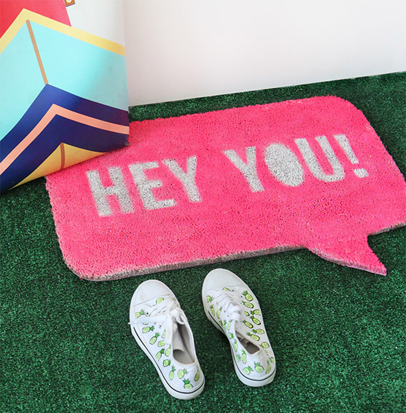 speech bubble doormat diy project