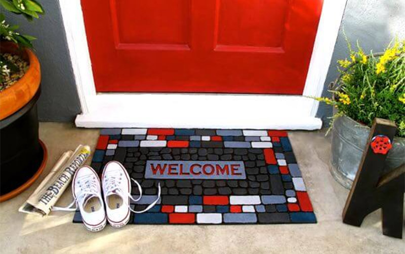 bright colorful doormat redesign