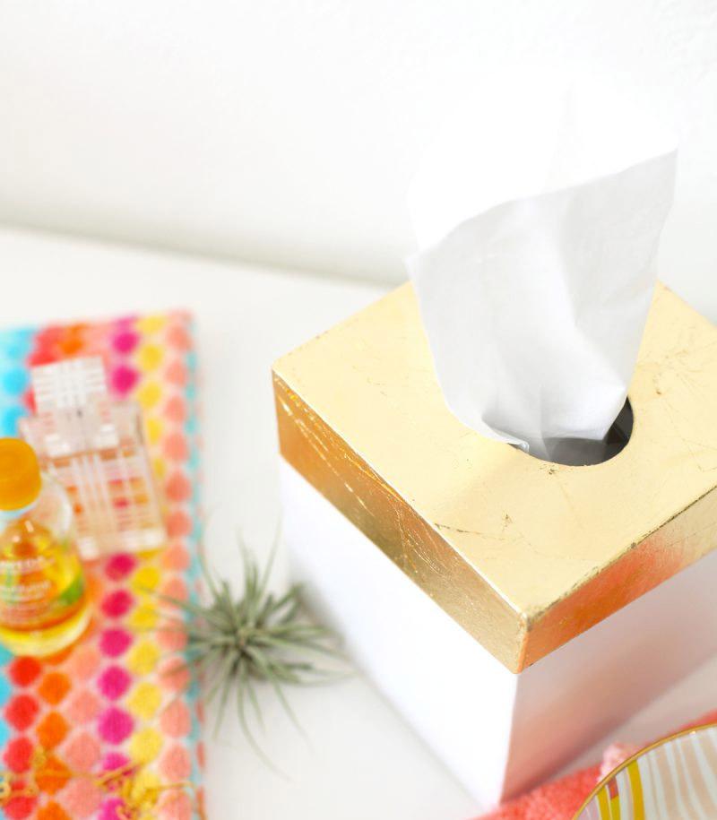 diy gold leaf tissue box