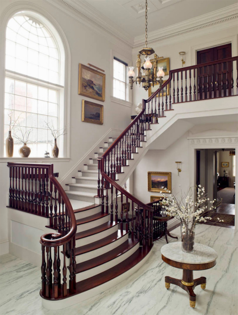 Wealthy luxurious CT farmhouse staircase open