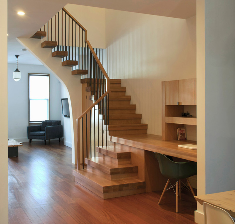 NC2 townhouse l-shaped staircase dark