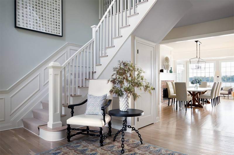 white staircase traditional design interior