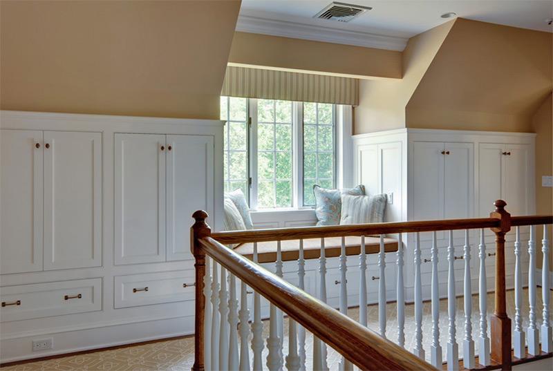 Hallway with window seating cushions
