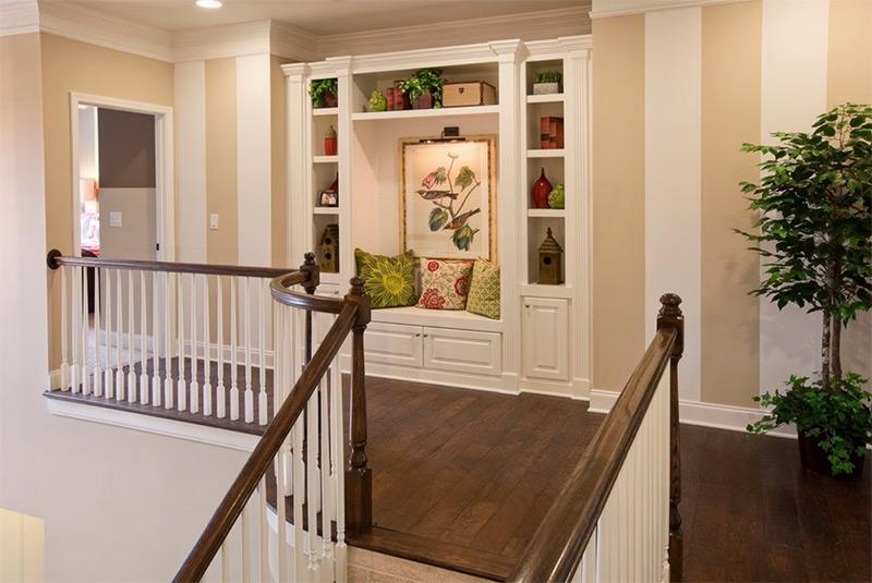 Dark hardwood floors on upstairs hallway