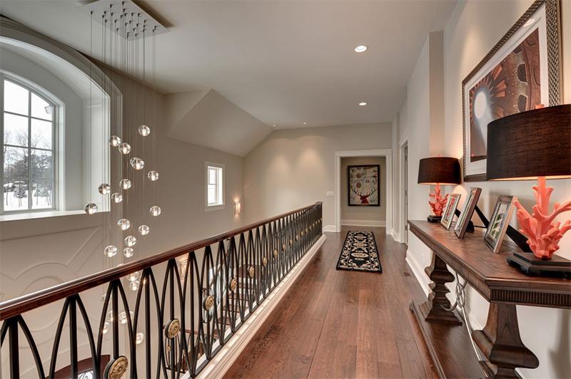 Clean upstairs hallway hardwood floors