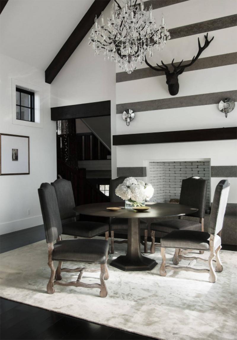 Dark striped modern interior