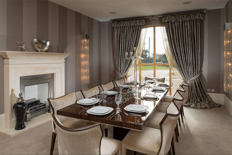 Neutral striped dining room design