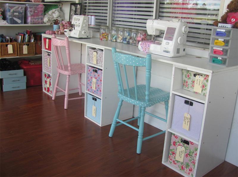 Kids eclectic vintage craft room