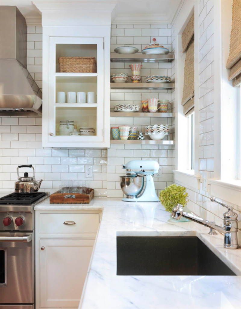 Simple marble countertops with black sink