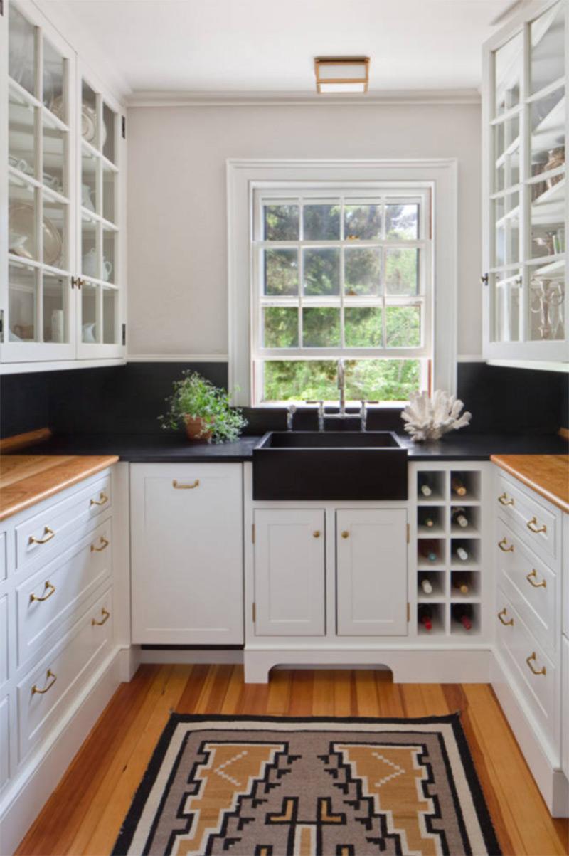 Black kitchen farmhouse interior