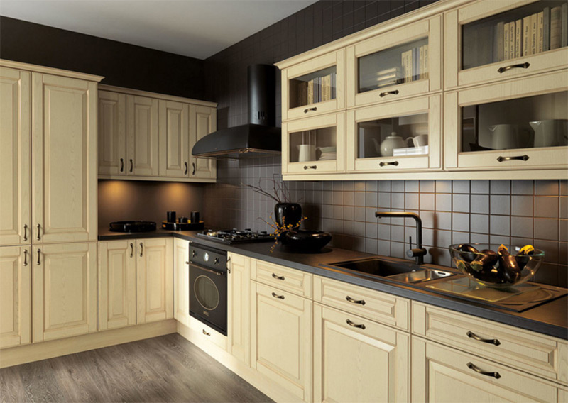 Yellow and black kitchen with a black sink