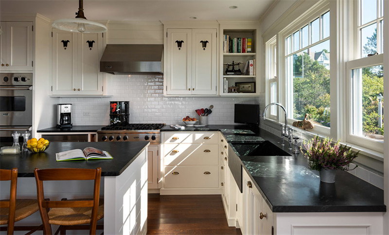 Stone house with kitchen countertops