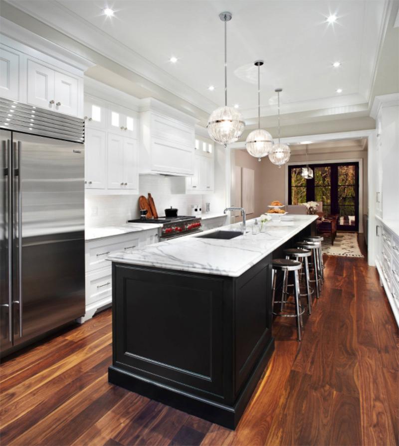 Black kitchen farmhouse sink design