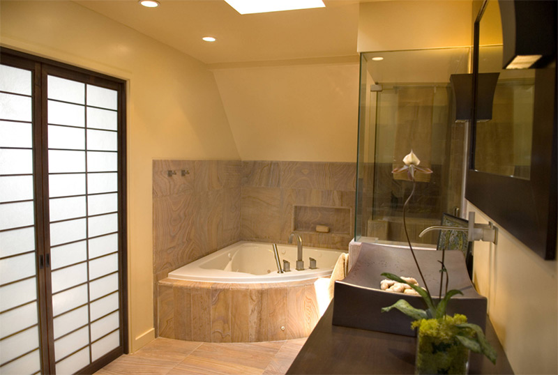 Wooden tile bathroom corner bathtub