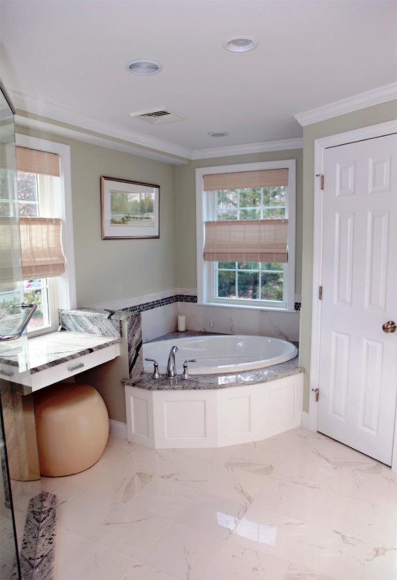 Custom corner bathtub colonial remodel