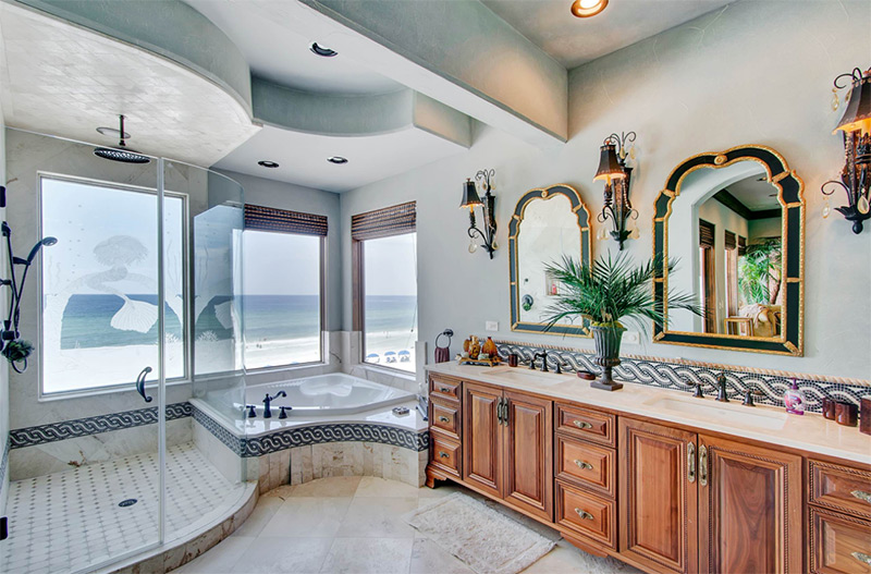 Corner bathtub and standing shower